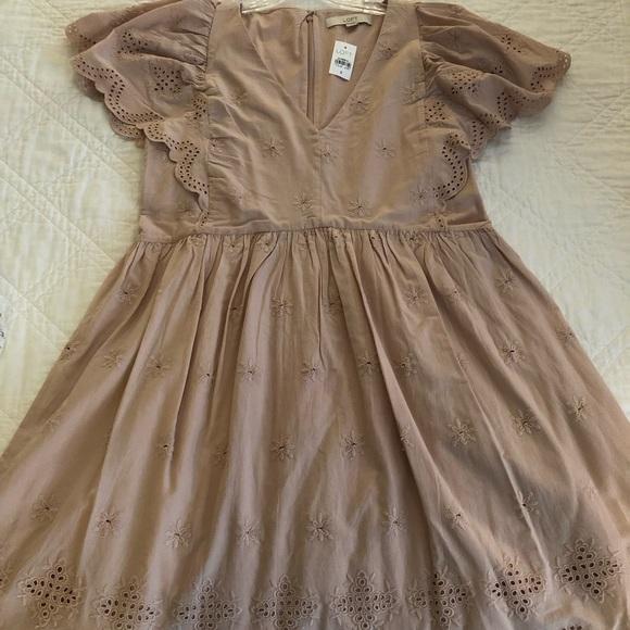 LOFT Dresses & Skirts - LOFT Blush color, eyelet, flutter sleeve dress
